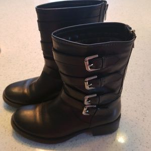 Leather Moto Swell X zip up boot